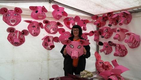 Xtina Lamb with pig masks